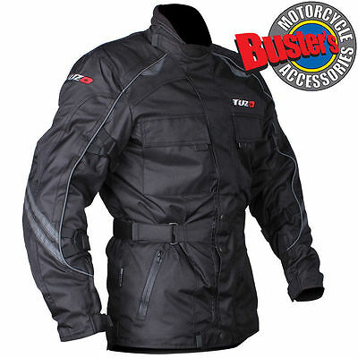 Tuzo Trail Master Black Motorcycle Textile Mens Jacket Waterproof CE Armoured