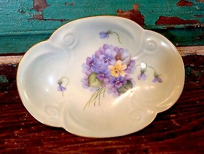 Vintage Hand Painted Porcelain Small Candy Dish, Violets, Gold Scalloped