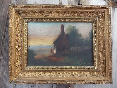 Antique Victorian Oil on Canvas Painting Farmhouse Country Landscape. Charming!