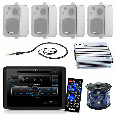 "Enrock Box 4"" Speakers and Wiring, 400W Amplifier,RV DVD CD WALL Radio, Antenna"