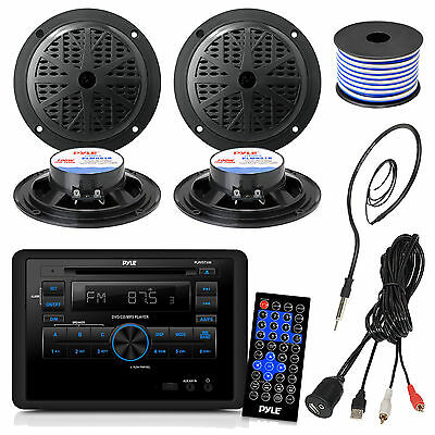 """Black 5.25"""" Speakers, RV Wall Mount DVD Radio, Speaker Wire,Antenna,USBAUX Cable"""