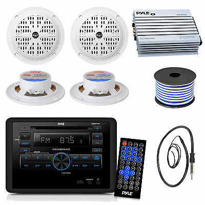 "4"" 100W Speakers, 400W Amplifier, RV Wall Mount DVD Receiver, Antenna and Wiring"