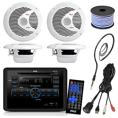 """Pyle DVD Wall Mount RV Radio, 6.5"""" Speakers and Wiring, Antenna, USBAUX Cable"""