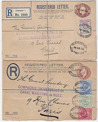 * 1906/08 2 Small Postal Stationery Registered Envs Uprated Liverpool To France