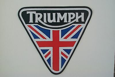 Triumph Motorcycles patent plate back patch. 10 inch. Synthetic leather NEW NICE