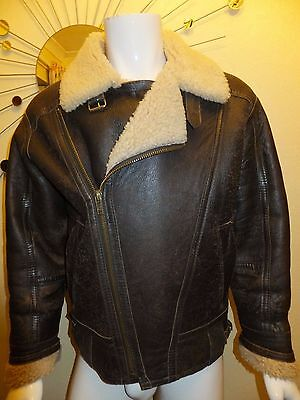 Sheepskin Leather Flying Jacket Unisex Size Medium Good Vintage Look