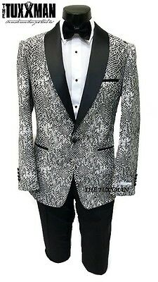 Tuxedo Black & White Snake Skin Jacket Formal Men's Slim Fit TUXXMAN Coat Fitted