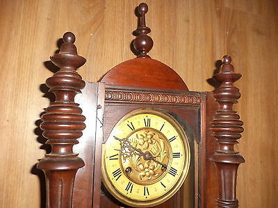 Antique wall clock with pendulum & key  ( not working )