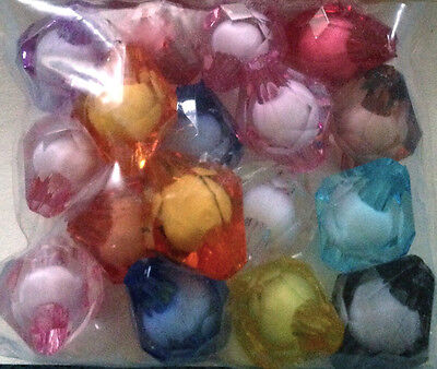 15 x Mix colour acrylic bicone facet beads 15mm PA0110