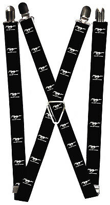 Ford Automobile Company Classic White Mustang Logos Suspenders