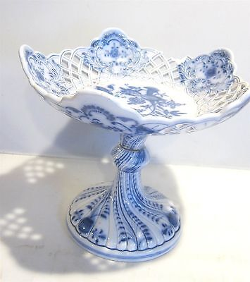"Antique Blue Onion 9"" Reticulated Compote Steingutfabrik Thomsberger & Hermann"