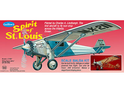 SPIRIT OF ST. LOUIS Guillow's Balsa wood flying scale model kit #807