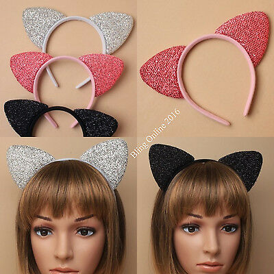 Sparkly Cat Ears Alice Headband Head Band Black Pink Or Silver Party Fancy Dress
