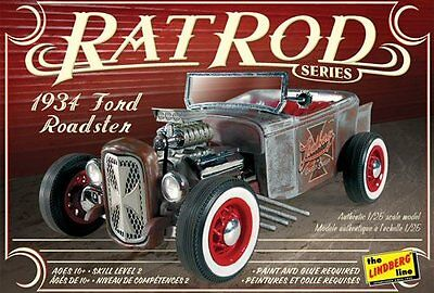 1934 Ford Roadster Rat Rod 1/25 scale skill 2 Lindberg plastic model kit#122