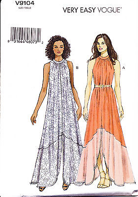 ©2015 Vogue Sewing Pattern 9104 Misses 14-22 Maxi Pullover Dress W/ Split Skirt