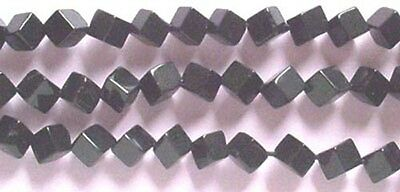 5mm Black Onyx cube beads, diagonal hole, qty 20, beads for jewellery and crafts