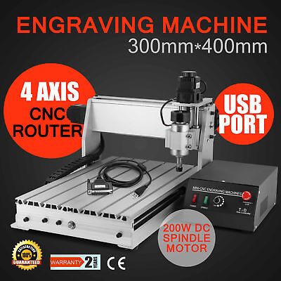 Usb Cnc Router Engraver Engraving Cutter 4 Axis 3040T Cutting Woodworking 200W