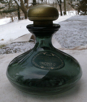 Vintage Avon Captian's Choice Aftershave Decanter Bottle,1970s,dark green glass