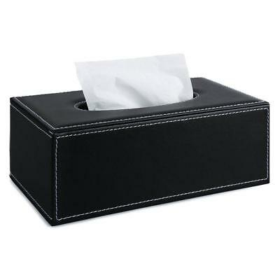 PU Leather Tissue Box Cover Home Napkin Toilet Paper Holder Case Black