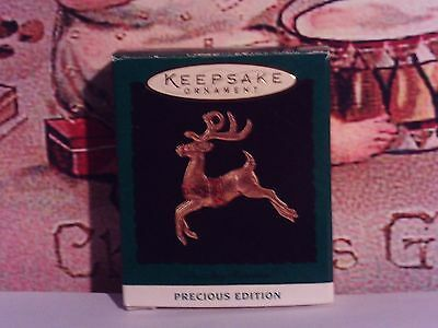 Reindeer`1994`Miniature-Tiny Golden Color Reindeer,Hallmark Christmas Ornament