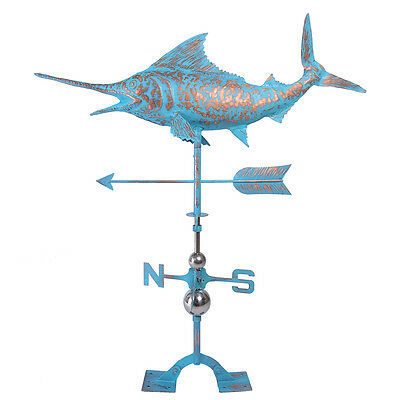 Weather Vane Copper Patinated Finish Real Handcrafted Sword Fish Weathervane NEW