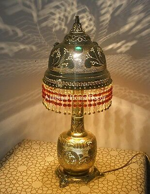 Handcrafted Moroccan Middle Eastern Jeweled Brass Table Lamp Light