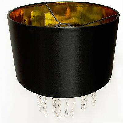 Modern Stylish Black & Gold Chandelier Pendant Light Shade with Acrylic Drops