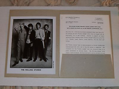 Rolling Stones Voodoo Lounge 1994 tour press kit:  6 pp. of info, 1 B+W picture