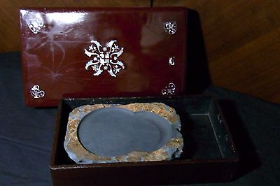 Vintage Suzuri Chinese Ink Stone for Shodo Calligraphy w Raden Wooden Box