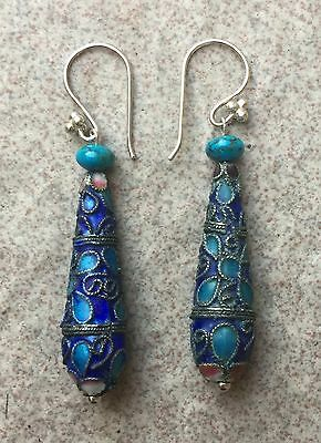Antique Chinese Enamel Drop Earrings