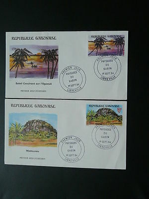 landscapes palm tree x2 FDC Gabon 63041