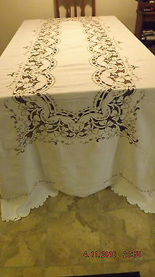 ANTIQUE  DOUBLE DAMASk IRISH LINEN LARGE BANQUETING CLOTH   OVER. 9 ft. by 6 ft