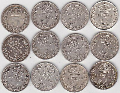 12 Silver Three Pence Dated 1891 To 1920 In Good Fine Or Better Condition