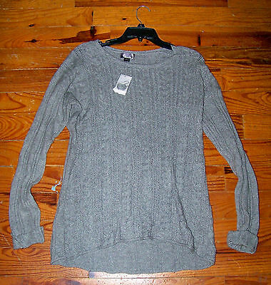 New! Women's OH BABY Maternity Light Gray Cotton PullOver Long Sweater Large