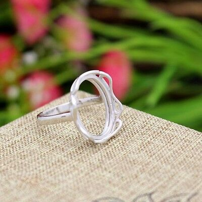 Sterling Silver 925 Women Engagement Ring 13x17mm Oval Cabochon Semi Mount