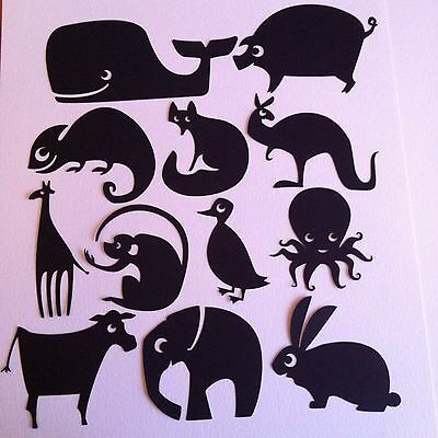 12 X Black Silhouette Modern Quirky Animal Die Cut Shapes-Wildlife Sea Jungle