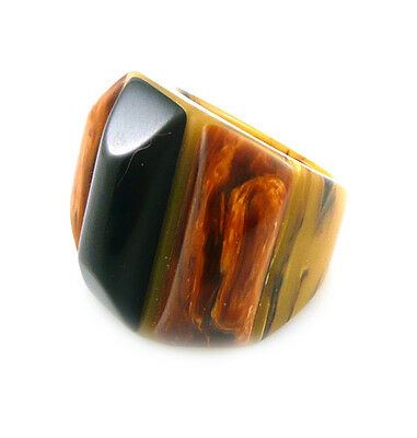 RARE Vintage 1930s 40s Handmade Laminated 3 Color BAKELITE Cocktail RING Size 6