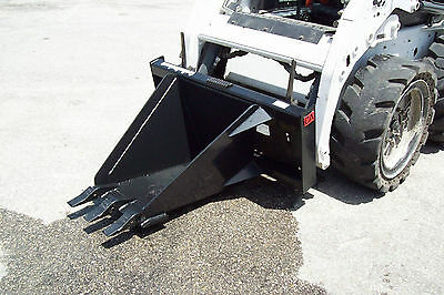 "Skid Steer Heavy Duty Stump Bucket,36"" Depth,17"" Wide Front, Made USA,In  Stock"