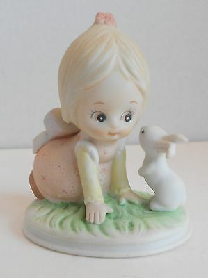 Vintage Lefton Girl with Easter Bunny Rabbit   04894 1985