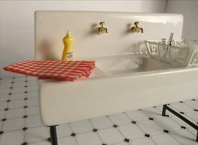 Dollhouse Furniture Kitchen Ceramic Sink White Old Fashion Kitchen Sink