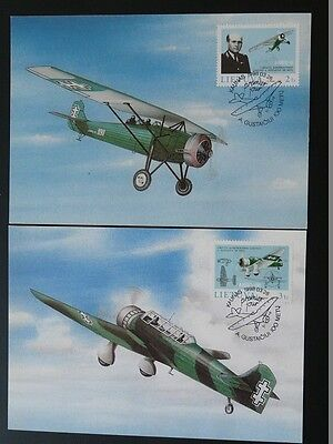 aircraft Air Force Antanas Gustaitis x2 maximum card Lithuania 72125