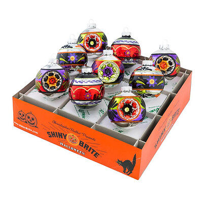 Radko Shiny Brite 9 Count Halloween Decorated Rounds Reflector Glass Ornaments