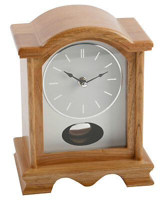 Modern Natural Light Oak Arch Wood Mantle Clock Moving Swinging Pendulum Mantel