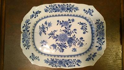 18th C Qianlong Chinese Export Rectangular Plate Decorated with Flowers