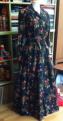 VINTAGE SHEER COTTON FLORAL MAXI DRESS LATE 1970's DOES 1940's SIZE 12 MEDIUM