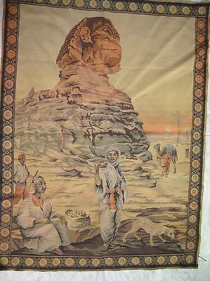 Vintage Egyptian Great Sphinx Of Giza Souvenir Tapestry Wall Hanging Rug