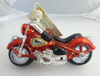 "Old World Christmas ""Motorcycle"" Harley Honda Yahama Blown Glass Ornament NWT"