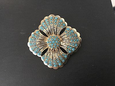 Vintage 835 gilt silver brooch pin inlaid turquoise cabachon