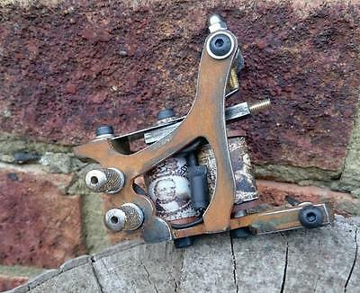 Old School Rustic Sidewheer Tattoo Machine Hand Made Liner Or Shader Antiqued