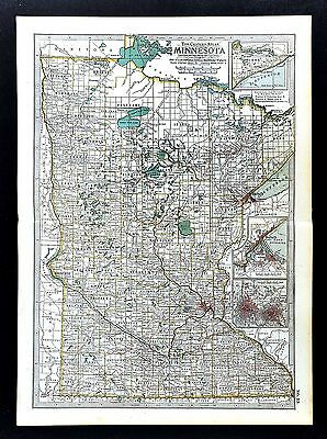 1902 Century Atlas Map - Minnesota - St. Paul Minneapolis Duluth Mankato Winona